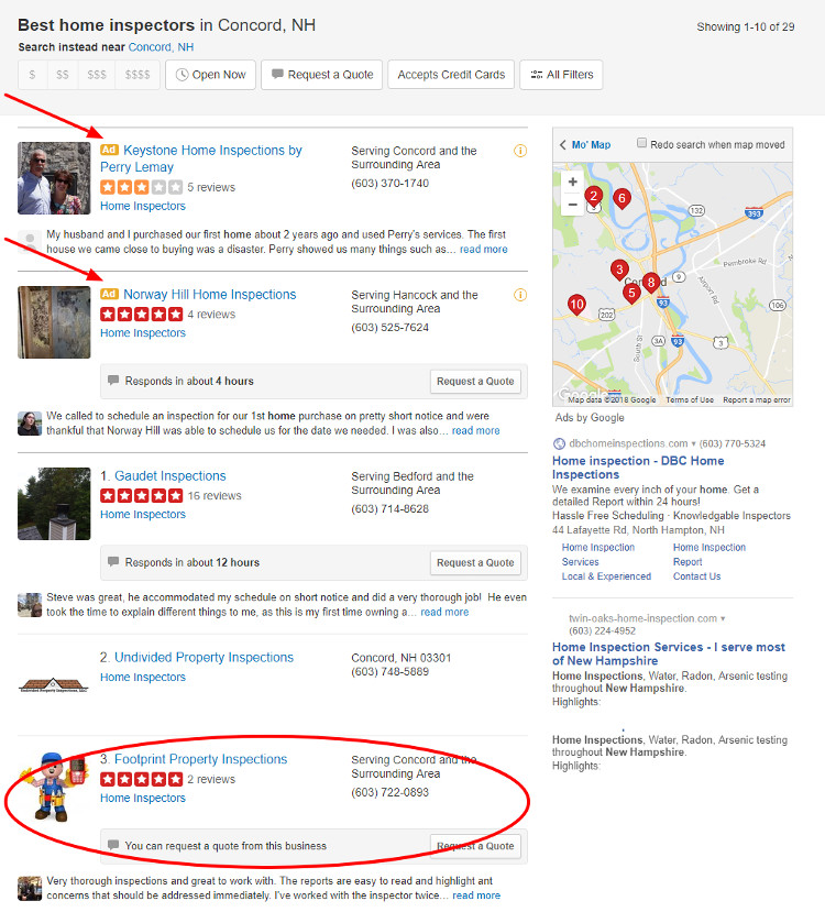Concord Home Inspectors yelp pick